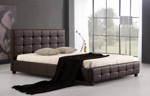 Vada Brown PU Leather Bed Frame Double