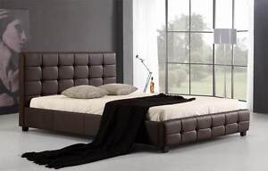 NEW ON SALE - Queen PU Leather Deluxe Bed Frame Brown Silverwater Auburn Area Preview