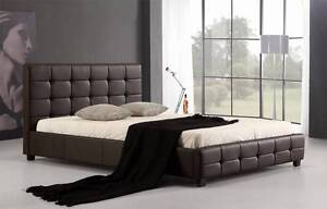 NEW Queen PU Leather Deluxe Bed Frame Brown Nyora South Gippsland Preview