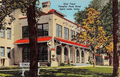 Spirit Lake Iowa Templar Park Hotel East Front Antique Postcard K41717