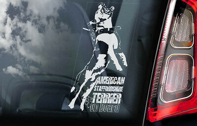American Staffordshire Terrier -Car Window Sticker- Dog on Board Bull Decal -V09