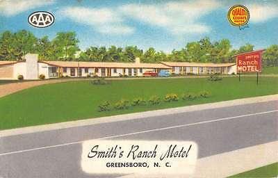 Greensboro North Carolina Smith Ranch Motel Street View Antique Postcard K53876 Carolina Ranch