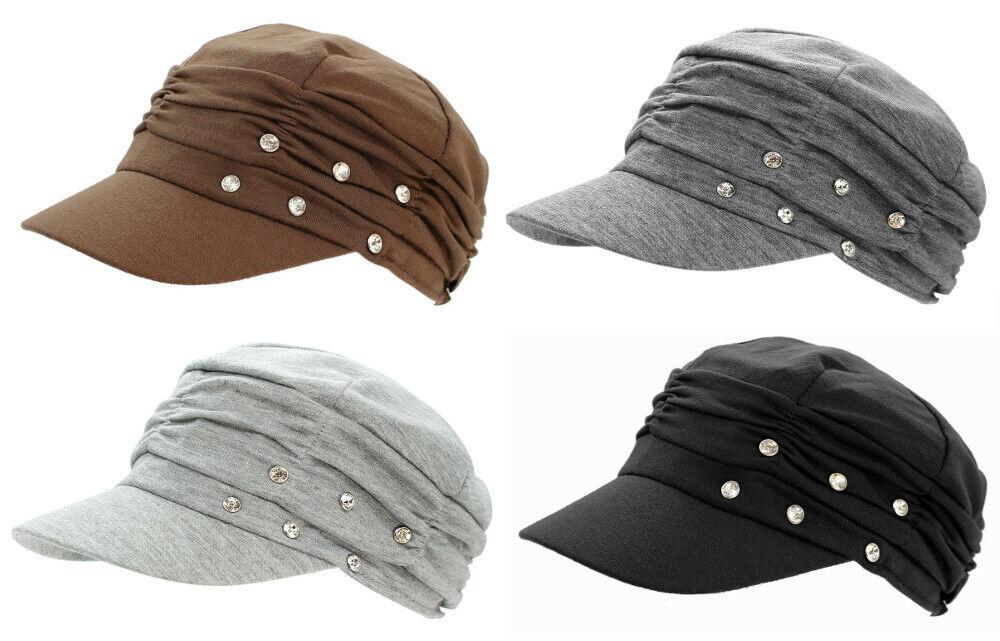 Kappe Damen Baseball Caps Mütze Schirmmütze Mit Glitzer Faltenlook Mütze