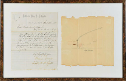 Edward Clark, Us Capitol Architect - Letter Signed W/ Rare Architectural Drawing