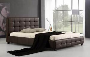 NEW ON SALE - Double PU Leather Deluxe Bed Frame Brown Silverwater Auburn Area Preview