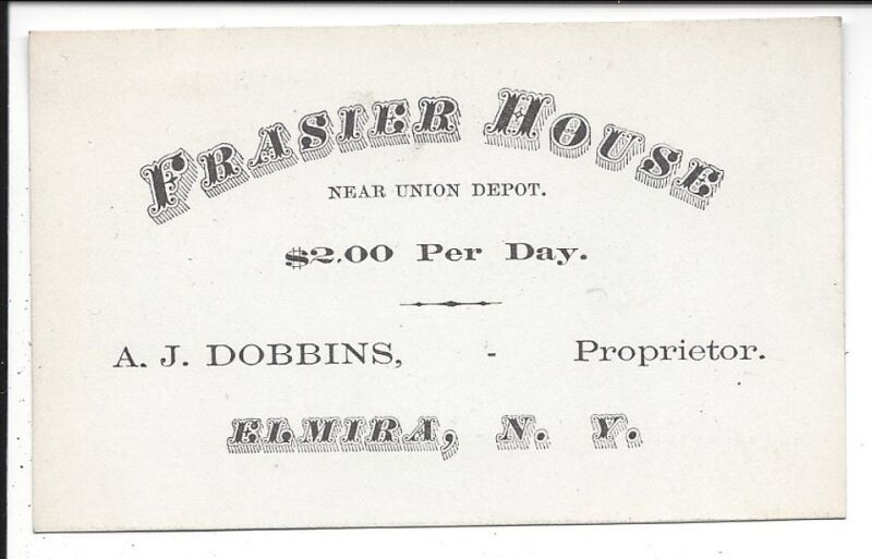 c1870s Business Card, Frasier House, Elmira, New York
