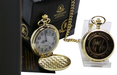 SIGNED GEORGE MICHAEL 24k Gold Plated Pocket Watch Autographed Luxury Gift Case