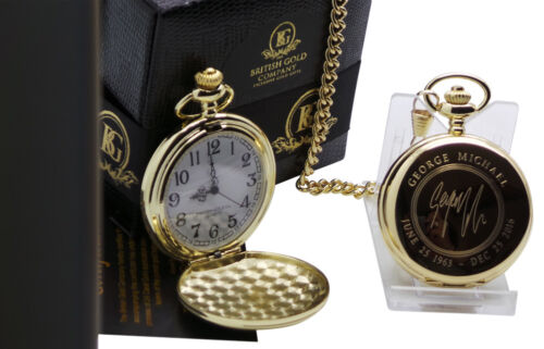 SIGNED GEORGE MICHAEL 24k Gold Clad Pocket Watch Autographed Luxury Gift Case