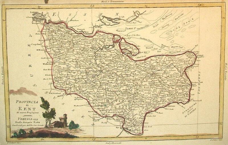 1779 Genuine Antique Hand Colored Map Kent Co, England. Elegant Cartouche. Zatta