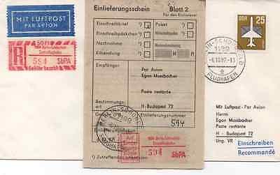 R - ZETTEL BERLIN - SCHÖNEFELD ZENTRALFLUGHAFEN 1987 GEFLOGEN NACH BUDAPEST