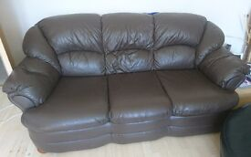 3 and 2 seater brown leather couch for sale