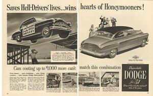 1951 large two-page magazine ad for Dodge- Hell Driver Theme