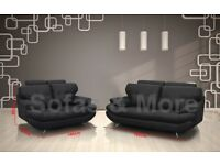 2 Sofa's (3+2 Seater) Black Leather Imitation QUICK SALE