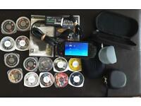 PSP, 14 games, 2 movies, charger & cases