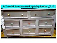 Multi drawer chest with quirky knobs sideboard/TV cabinet