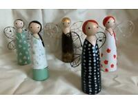 Hand painted decorative wooden fairy angels x 5