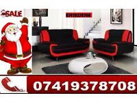 Red Black New Carine Leather 3 and 2 Seater Sofa