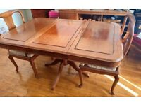 A beautiful and immaculate vintage Dining Table and chairs, matching sideboard also available