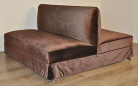 Attractive Large Vintage Brown Upholstered Gallery Two Sided Sofa Settee Couch