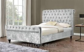 GET YOUR ORDER NOW - NEW CRUSHED VELVET DOUBLE OR KING SLEIGH DESIGNER BED FRAME WITH MATTRESS