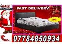 BED DOUBLE LEATHER BED AND MATTRESS AND STORAGE FREE DELIVERY