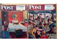 Saturday Evening Post magazines - 1950s - classic vintage ads - bulk lot