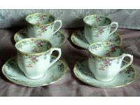 Shabby Chic Crown China 4 Cups and Saucers