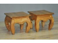Attractive Small Pair Of 2 Vintage Oriental Hardwood Side Occasional Tables