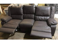 Brand New Bruno 3 Seater Leather Eff Manual Recliner Sofa - Chocolate