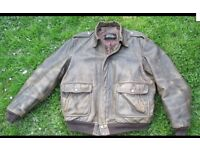 Distressed Brown leather bomber type jacket (Made for Harley-Davidson,) Old but all in good order