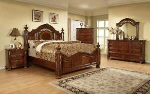 FOUR POSTER BED - FOR RUSTIC WOOD OR TUFTED UPHOLSTERED FABRIC HEADBOARDS - VISIT KITCHEN AND COUCH (GL73)