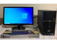 FUJITSU I3 Tower Computer Desktop PC & 23 Samsung LCD Widescreen HD