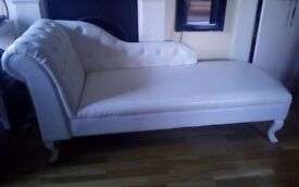 White leather chesterfield chaise longue