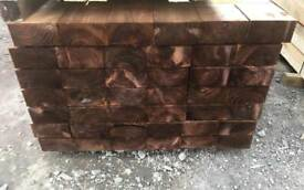 🍄 WOODEN PRESSURE TREATED BROWN RAILWAY SLEEPERS ~ NEW