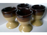 vintage glazed pottery egg cups