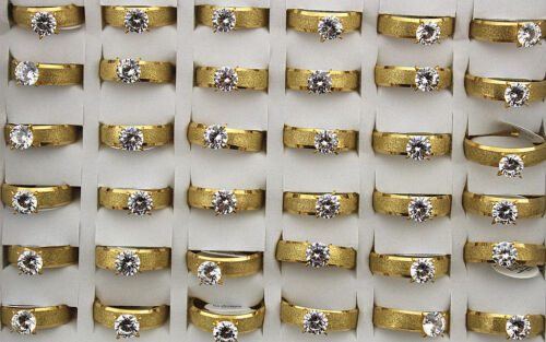 35pcs Wedding Jewelry Wholesale Lots Gold P Fashion Stainless Steel Rings AH940