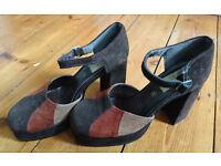 Vintage 1970s UK Size 6 Suede Platform Heels