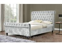***⚫***BLACK CHAMPAGNE OR SILVER***⚫***BRAND NEW DOUBLE OR KING SIZE CRUSHED VELVET SLEIGH BED