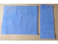 2 pieces Blue carpet offcuts - 1m 30cm x 1m 10cm and 1m 25cm x 50cm