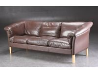 Danish vintage Borge Mogensen style 1970's three-seater leather sofa
