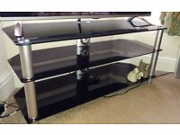 High Gloss Black Glass TV Cabinet Unit Stand With 3 Shelves Silver Legs