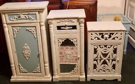 3 x WHITE/LATICE/MIRRORED BEDSIDE CABINETS/UNITS