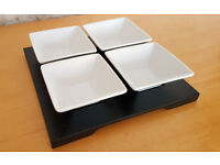 4 Ceramic Bowls On A Wooden Platter for dips sauces chutneys relishes tray