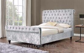 ❤►100% Best Price Guaranteed►❤ New 4FT6 Double / 5FT King Diamond Crushed Velvet Sleigh Designer Bed