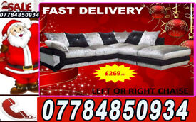 SOFA BRAND NEW CORNER BLACK AND SILVER SOFA SET