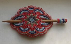 Native American Large Beaded Stick Barrette
