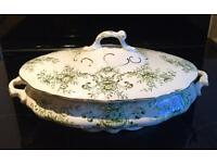 Hallmark led Till and Sons serving dish with floral green pattern