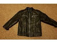 Boys black leather look jacket