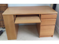Matching light wood effect desk and bookcase. £75