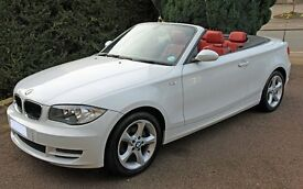 BMW 118i Sport Convertible, White with RED LEATHER interior